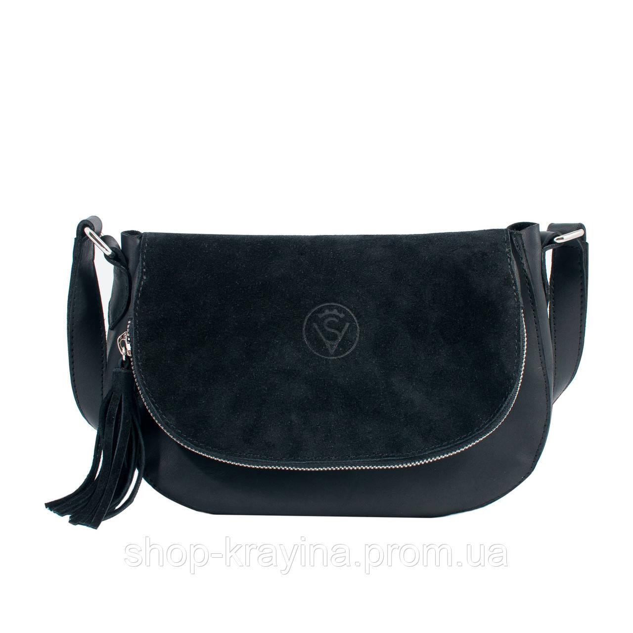 Кожаная сумка VS232 black suede 22х17х6 см