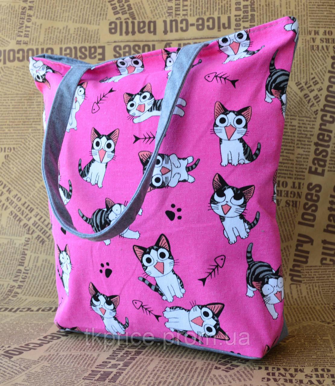Стильная эко сумка с котиками