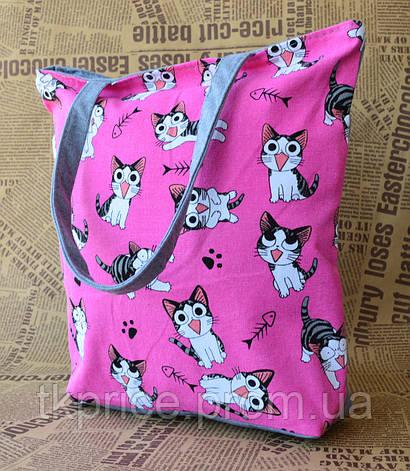 Стильная эко сумка с котиками, фото 2