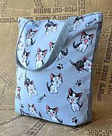 Стильная эко сумка с котиками серая