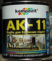 Краска для бетонных полов АК-11 Kompozit серая, 55кг