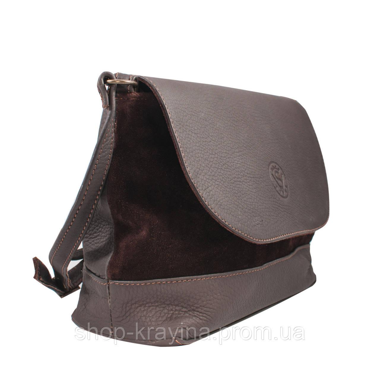 Кожаная сумка VS238 brown suede 27х23х9 см