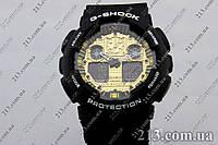 Водостойкие наручные часы Casio G-Shock Ga-100 Black Gold Джи Шок копия