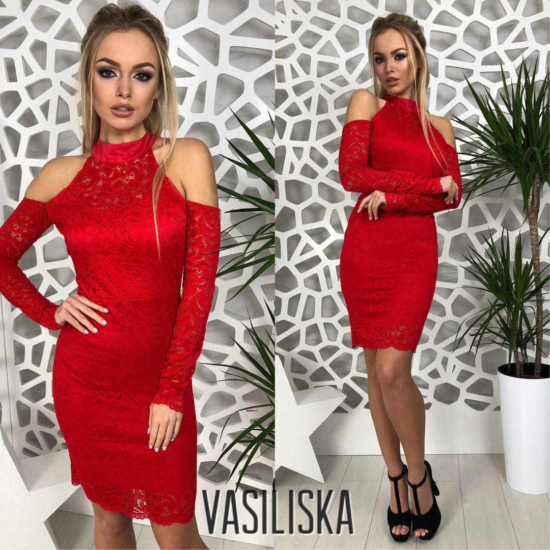 250be7ed6a5 Гипюровое платье с вырезом капелькой ан-180381-2 — купить недорого в ...