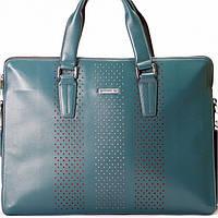 Мужская сумка портфель Kabinias кожаный темно - голубого цвета