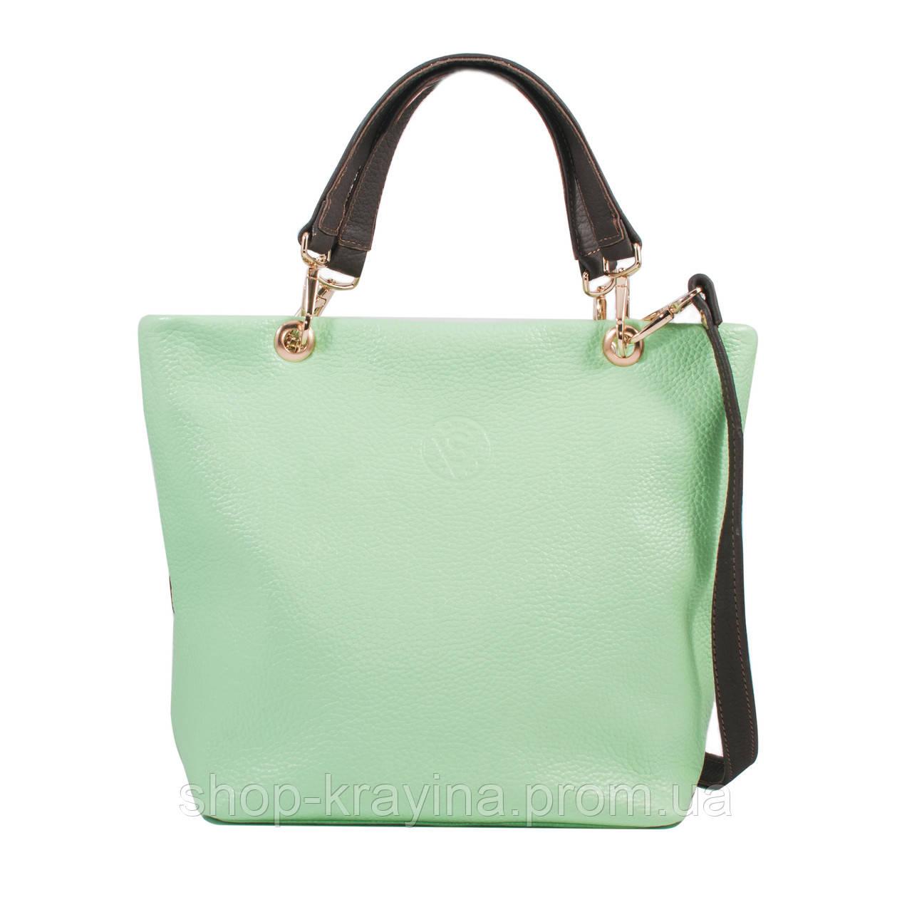 Кожаная сумка VS239 light green 27х23х9 см