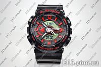 Спортивные часы с водозащитой Casio G-Shock Ga-110 Black-Red черные  , фото 1