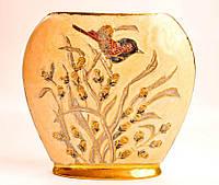 Очаровательная ваза! Птичка! Бронза! Эмаль!