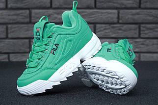 Женские кроссовки в стиле Fila Disruptor 2(II) Green/White, фото 3