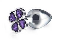 Стальная анальная пробка Цветок S Фиолетовый