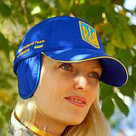 """Кепка """"Україна"""" синя, зимова з вухами, купити кепку символіка, тризуб кепка, купити тризуб кепка українська, фото 1"""