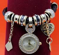 """Женские наручные часы-браслет """"Сним"""", стразы, бусины Пандора"""