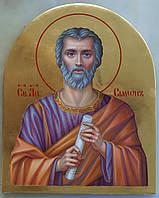 Сусальное золочение иконы Святого апостола Симона для хороса в храм.
