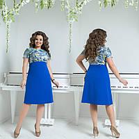 """Платье  больших размеров  """"Изабелла """" р-ры 48-60, из комбинированной ткани, верх с принтом код  544/8885"""