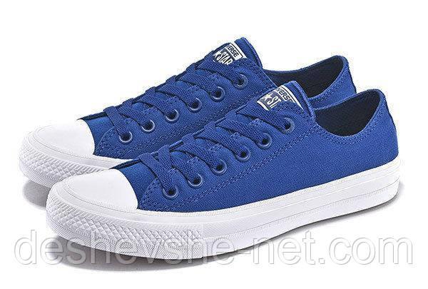 Кеды в стиле  Converse (Конверс) All Star II Low Chuck Tailor Mono Синие