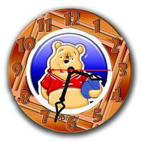 """Часы настенные круглые """"Мишка с мёдом"""" оригинальный подарок ребёнка 30х30 см"""