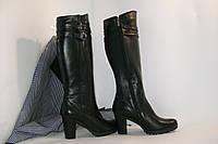 Кожаные, высокие сапожки на каблуке, от производителя., фото 1