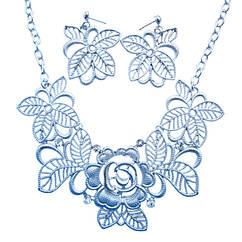Набор под Серебро: Колье + Серьги  Ажурные Кружевные Цветы со Стразами Металл,  Длина - 46 см + 8 см.