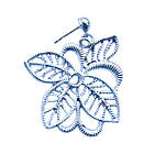 Набір під Срібло Кольє і Сережки Ажурні Квіти зі Стразами Метал, Довжина - 46 см + 8 див. Безкоштовна Доставка, фото 5