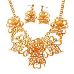Набор Ажурные Цветы: Колье и Серьги под Золото, Металл, Длина - 45 см + 6 см.