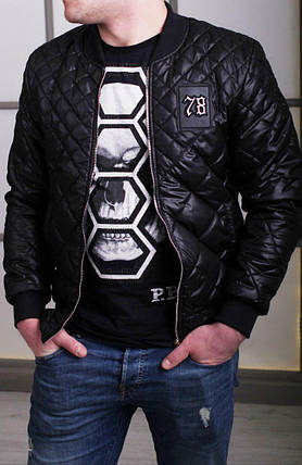 Мужская куртка-бомбер Philipp Plein с ромбовидным узором топ реплика, фото 2 200f3563a55
