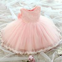 """Детское нарядное платье с бантом """"Принцесса""""  персиковое на 2, 3, 4 года, 5, 6 лет"""