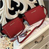 Клатч, сумка Майкл Корс Selma mini натуральная кожа цвет красный, Люкс копия
