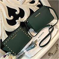 Клатч, сумка Майкл Корс Selma mini натуральная кожа цвет изумрудный, Люкс копия