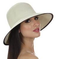 Шляпа женская  с моделируемыми полями цвет бежевый