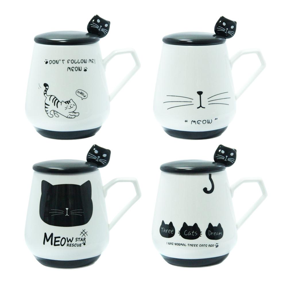 Кружка с крышкой и ложечкой Черная кошка, 300 мл