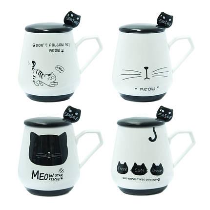 Кружка с крышкой и ложечкой Черная кошка, 300 мл, фото 2