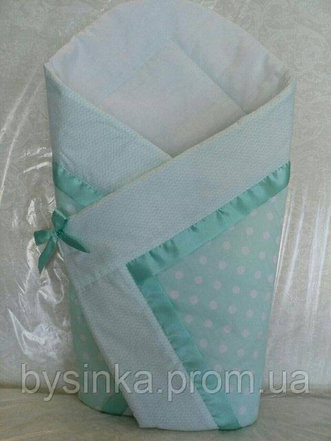 """Конверт-плед-одеяло на выписку новорожденного """"Мятный горох"""""""