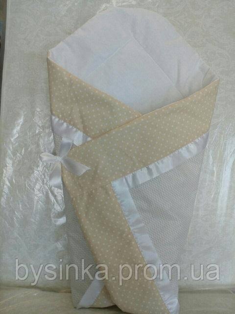"""Летний конверт для новорожденного на выписку """"Горох - Зигзаг"""""""