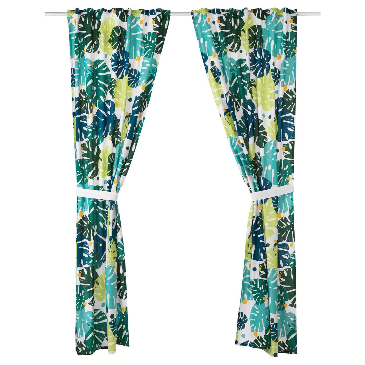 """ИКЕА """"УРСКОГ"""" Гардины с прихватом, разноцветные с рисунком в виде листочков, в тропическом стиле, 120x300 см."""