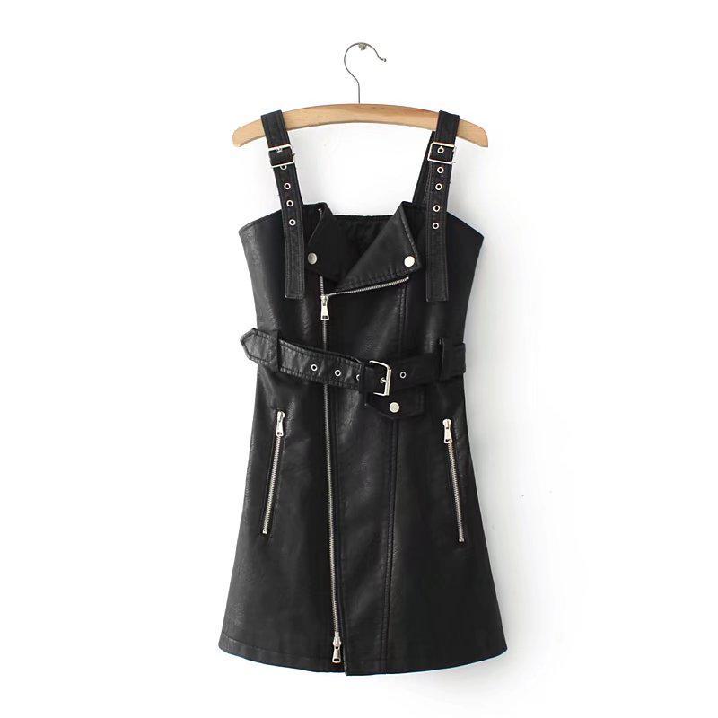 fcc05578fe7 Женский модный сарафан из кожзама черный  продажа