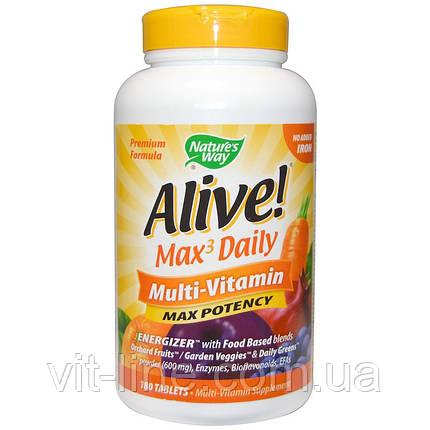 Nature's Way, Alive! максимальное действие, мультивитамины, без добавления железа, 180 таблеток, фото 2