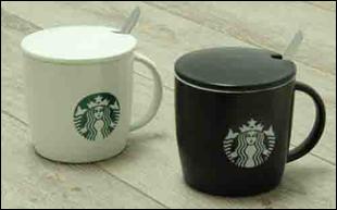 Кружка с крышкой и ложкой Старбакс ( Starbucks ) Ч-Б, 400 мл