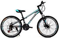 Детский велосипед  Cross Racer 24 Black-Blue-White
