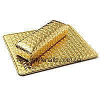 Новинка! Подлокотник для маникюра с ковриком, золотой, фото 1