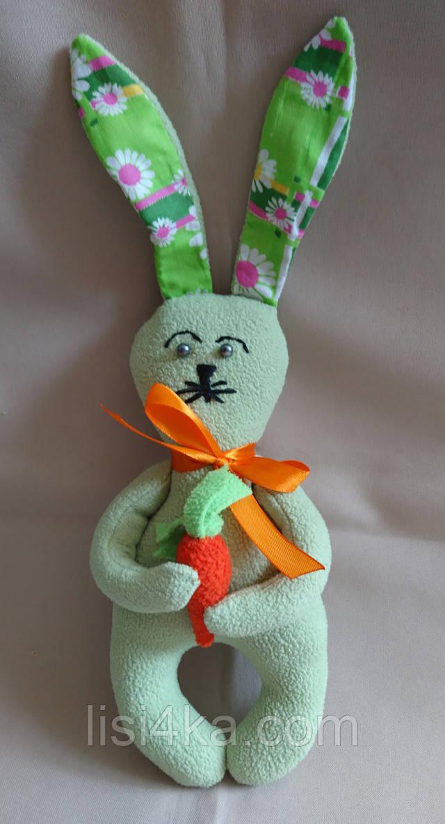 Интерьерный текстильный мятный зайчонок с морковкой