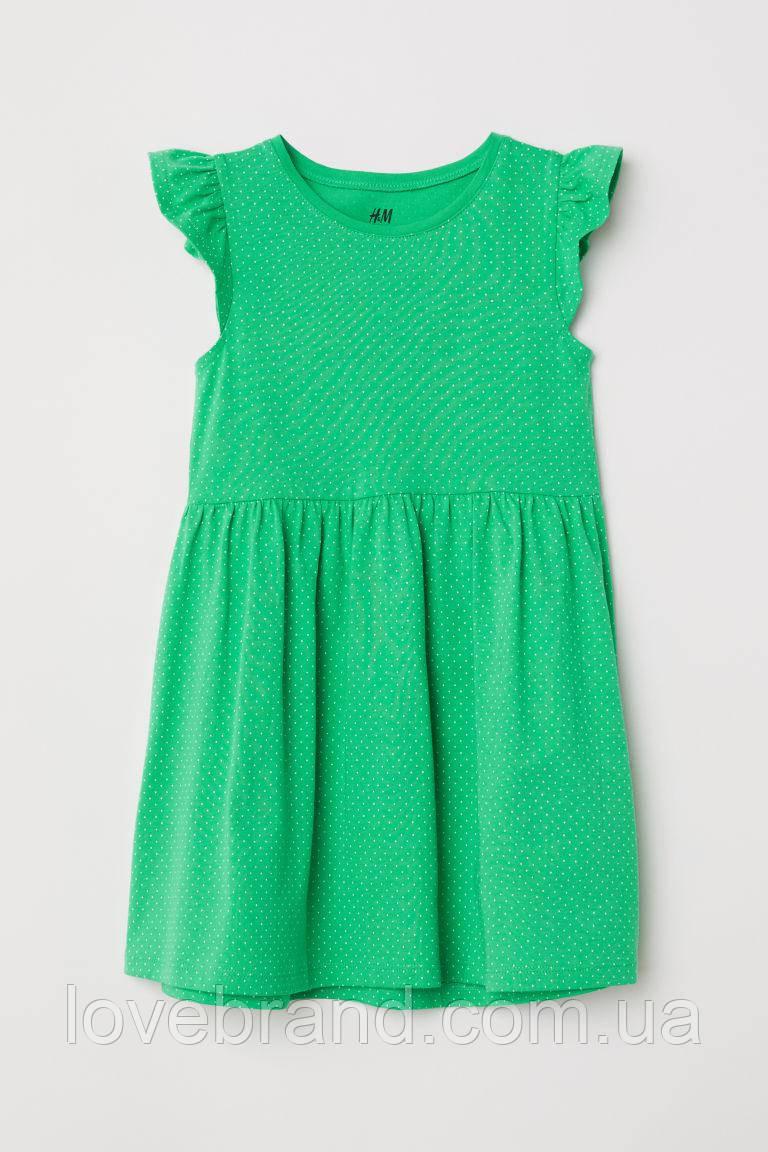 Летнее платье H&M зеленое в горошек 8-10 л./134-140 см