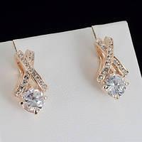 Элегантные серьги с кристаллами Swarovski, покрытые золотом 0425