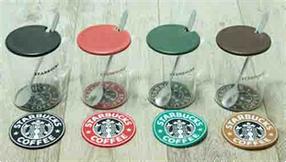 Стеклянная чашка с крышкой и подставкой Звездный бакс, 360 мл
