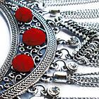 Колье под Серебро Восточное со Вставками Красного Цвета и Стразами, Длина 46 см + 6 см. Бесплатная Доставка, фото 6
