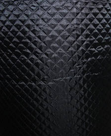 Ткань подкладочная на синтепоне стёганая  чёрная крупный ромб