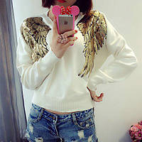 Женский свитшот реглан Крылья с пайетками белый