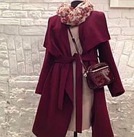 Пальто женское на весенне-осенний период, цвет: винный(бордо)