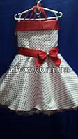 Детское нарядное платье  РЕТРО. 6 лет.  Без рукавов на корсете. Для выпускного в садик. Мелкий красный горох