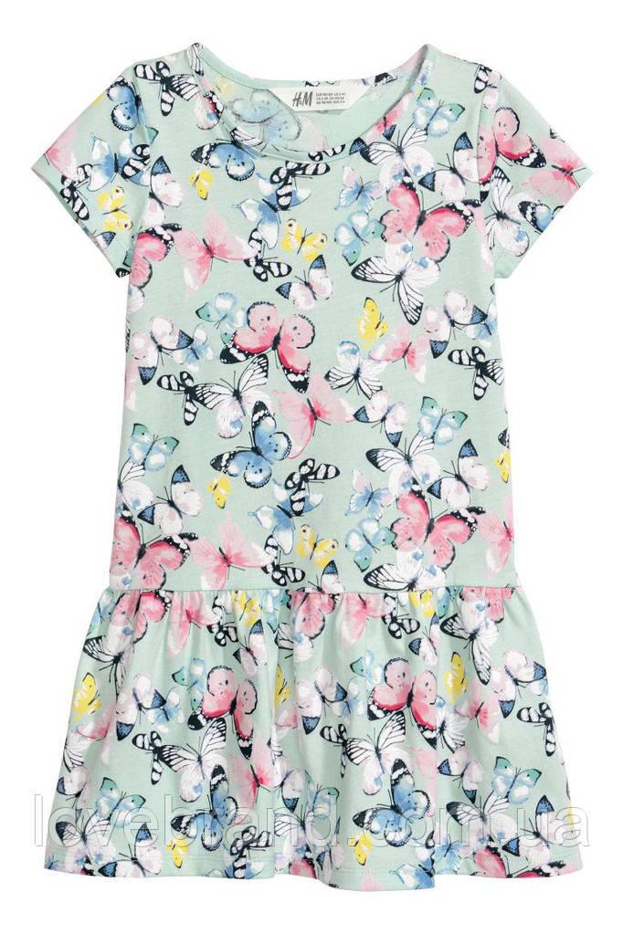 Летнее платье H&M ментол с бабочками