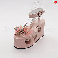 Женские розовые босоножки бабочки вырезы, фото 1